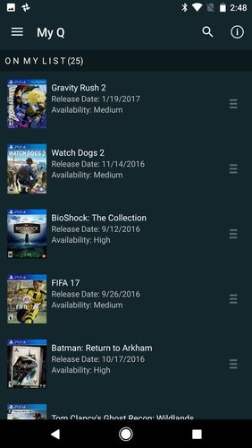 Screenshots des Programms GameFly für Android-Smartphones oder Tablets.