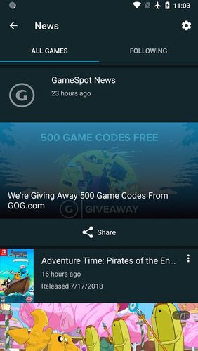 Screenshots of GameFly program for Android phone or tablet.
