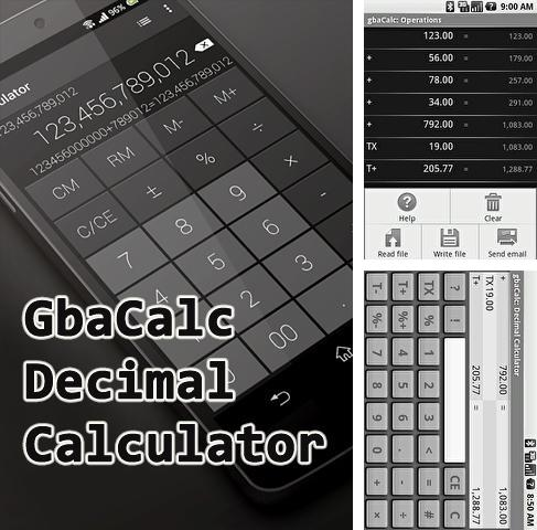 Download Gbacalc decimal calculator for Android phones and tablets.