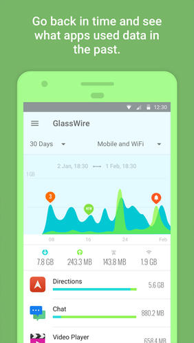 GlassWire: Data Usage Privacy app for Android, download programs for phones and tablets for free.