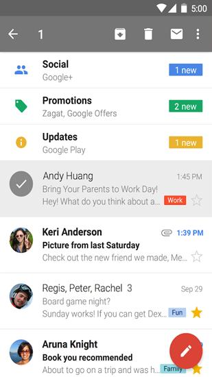 Capturas de tela do programa Gmail em celular ou tablete Android.