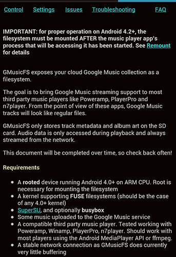 Screenshots of GMusicFS program for Android phone or tablet.