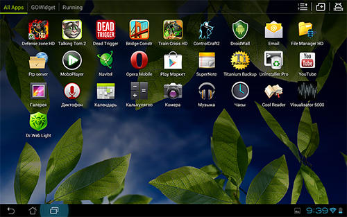 Screenshots des Programms GO Launcher HD für Android-Smartphones oder Tablets.
