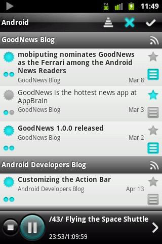 Les captures d'écran du programme Good news pour le portable ou la tablette Android.