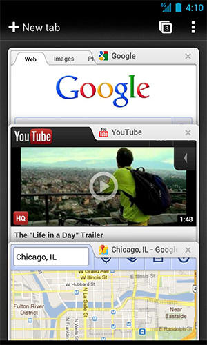Les captures d'écran du programme Google chrome pour le portable ou la tablette Android.