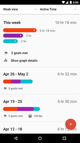 Screenshots des Programms Google fit für Android-Smartphones oder Tablets.