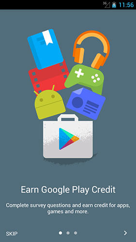 Capturas de pantalla del programa Google opinion rewards para teléfono o tableta Android.