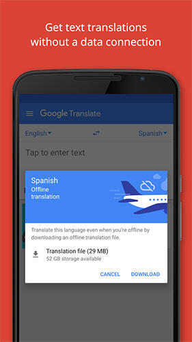 Capturas de pantalla del programa Google translate para teléfono o tableta Android.