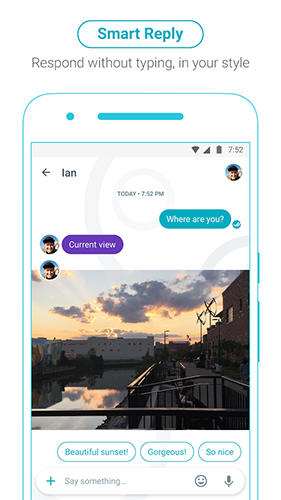 Screenshots of Google Allo program for Android phone or tablet.