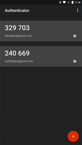 Screenshots of Google Authenticator program for Android phone or tablet.