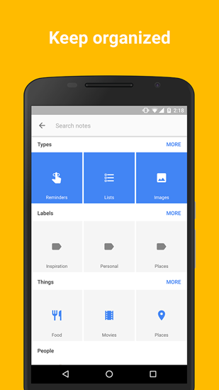 Les captures d'écran du programme Google Keep pour le portable ou la tablette Android.