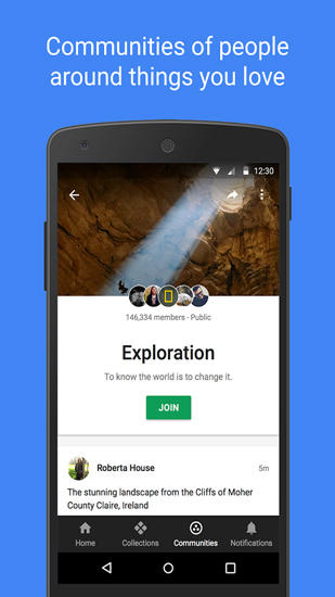 Screenshots of Google Plus program for Android phone or tablet.