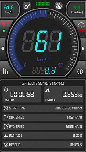 Capturas de tela do programa GPS: Speed Pro em celular ou tablete Android.