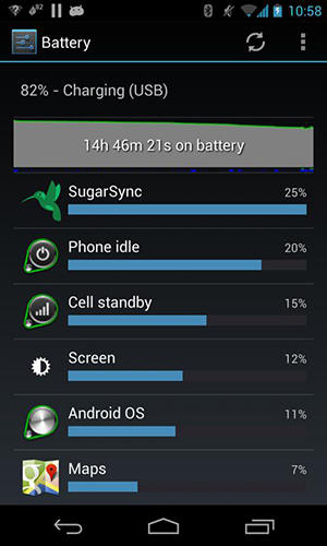 Screenshots des Programms Green: Power battery saver für Android-Smartphones oder Tablets.