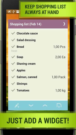 Les captures d'écran du programme Grocery: Shopping List pour le portable ou la tablette Android.