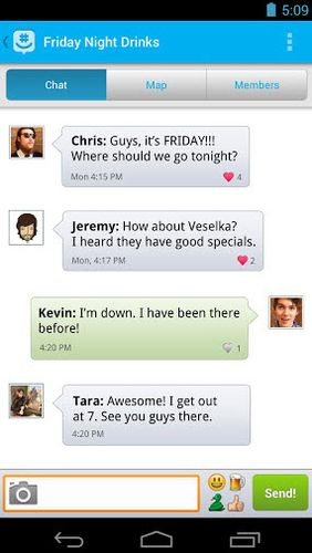 Screenshots of GroupMe program for Android phone or tablet.