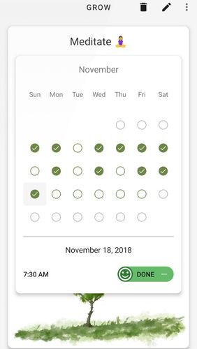 Screenshots of Grow - Habit tracking program for Android phone or tablet.