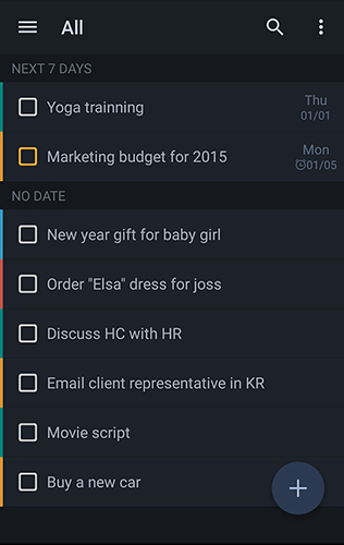 Screenshots des Programms G tasks für Android-Smartphones oder Tablets.