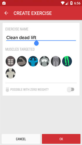 Les captures d'écran du programme Gym Journal: Fitness Diary pour le portable ou la tablette Android.