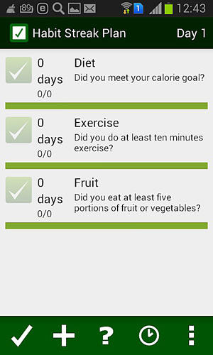 Screenshots of Habit streak plan program for Android phone or tablet.