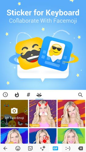 Screenshots of HAHAmoji - Animated face emoji GIF program for Android phone or tablet.