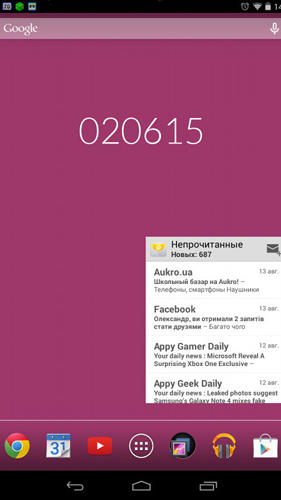 Screenshots des Programms Hexa time für Android-Smartphones oder Tablets.