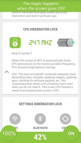 Screenshots of Hibernate - Real battery saver program for Android phone or tablet.