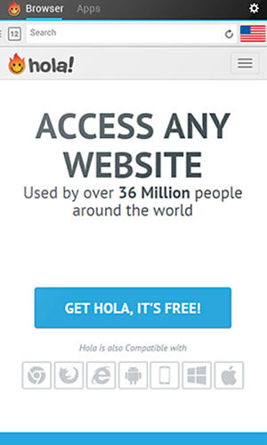 Screenshots of Hola free VPN program for Android phone or tablet.