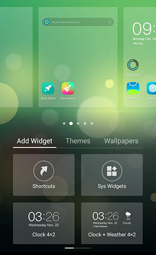 Screenshots of HiOS launcher - Wallpaper, theme, cool and smart program for Android phone or tablet.