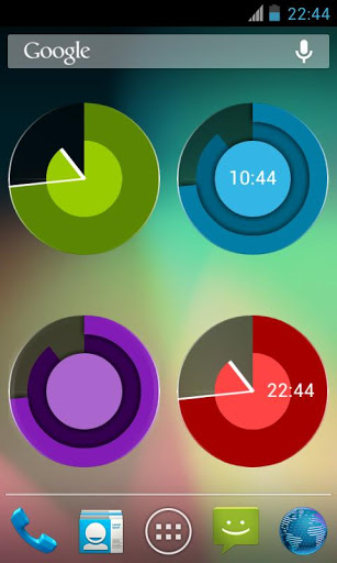 Screenshots of Holo Clock Widget program for Android phone or tablet.
