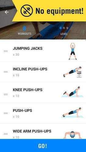 Les captures d'écran du programme Home workout - No equipment pour le portable ou la tablette Android.