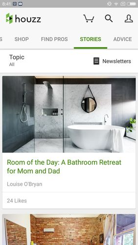 Les captures d'écran du programme Houzz - Interior design ideas pour le portable ou la tablette Android.