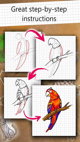 Screenshots des Programms How to Draw für Android-Smartphones oder Tablets.