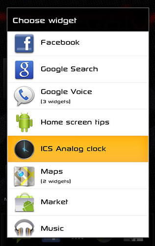 Screenshots of Ice cream sandwich clock program for Android phone or tablet.