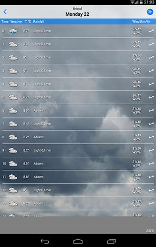 Screenshots of ilMeteo weather program for Android phone or tablet.