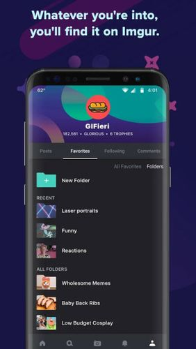 Les captures d'écran du programme Imgur: GIFs, memes and more pour le portable ou la tablette Android.