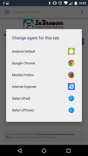 Screenshots des Programms InBrowser - Incognito browsing für Android-Smartphones oder Tablets.