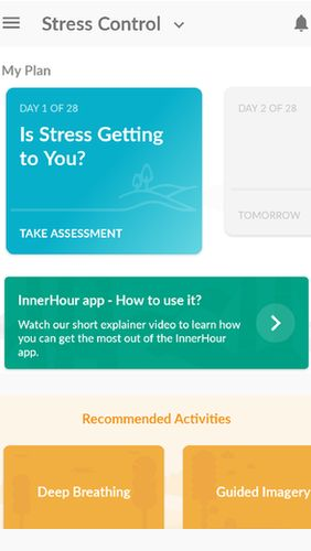Screenshots des Programms InnerHour - Self help for anxiety & depression für Android-Smartphones oder Tablets.