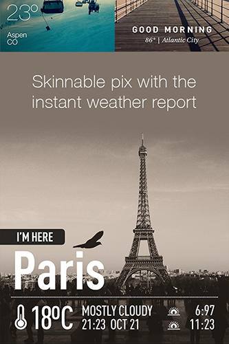 Les captures d'écran du programme iPhone weather pour le portable ou la tablette Android.