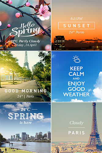 Les captures d'écran du programme Insta weather pro pour le portable ou la tablette Android.