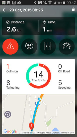 Capturas de tela do programa IOnRoad: Augmented Driving em celular ou tablete Android.