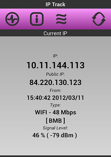 Screenshots of IP Track program for Android phone or tablet.