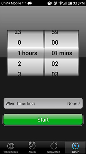 Screenshots of iPhone 5 clock program for Android phone or tablet.