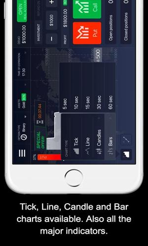 Screenshots of IQ Option Binary Options program for Android phone or tablet.