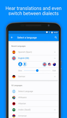 Screenshots of iTranslate: Translator program for Android phone or tablet.