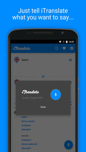 Les captures d'écran du programme iTranslate: Translator pour le portable ou la tablette Android.