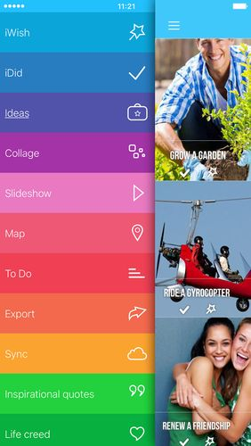 Screenshots des Programms iWish - Life goals, bucket list für Android-Smartphones oder Tablets.