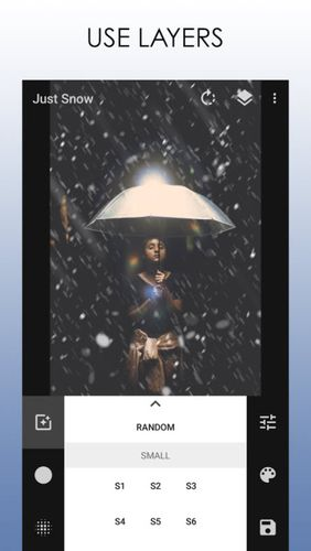 Les captures d'écran du programme Just snow – Photo effects pour le portable ou la tablette Android.