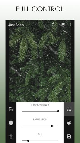 Capturas de tela do programa Just snow – Photo effects em celular ou tablete Android.