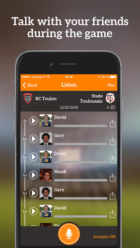 Screenshots des Programms Kikast: Sports Talk für Android-Smartphones oder Tablets.
